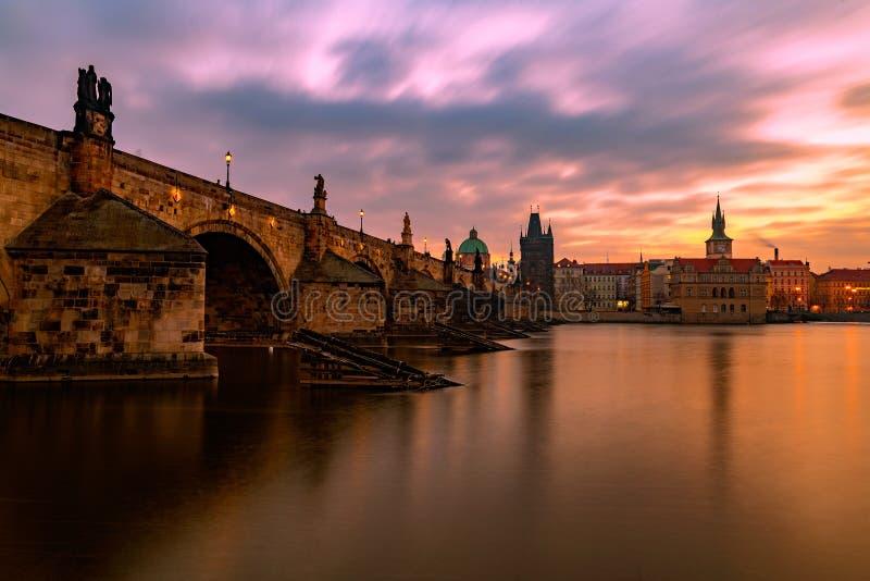 Zonsopgang in Praag royalty-vrije stock fotografie