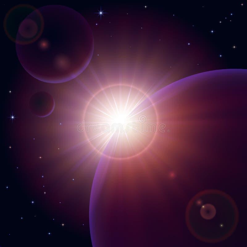 Zonsopgang in ruimte vector illustratie