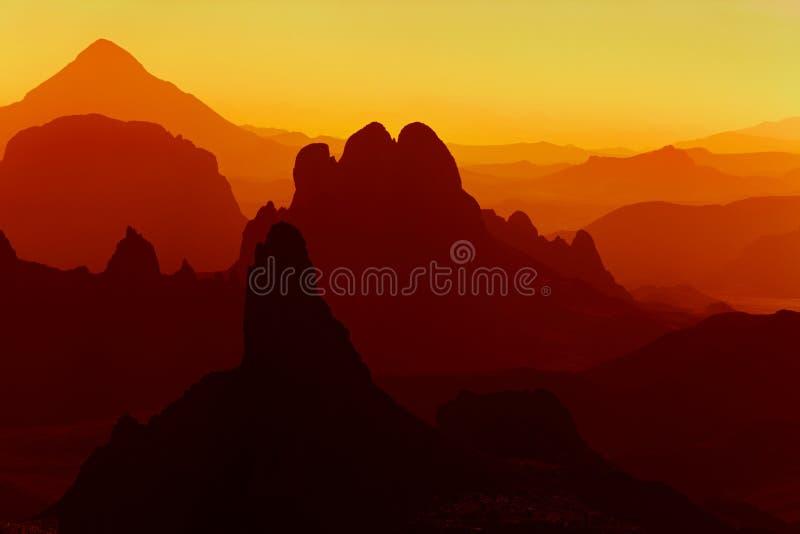 Zonsopgang in Sahara Desert royalty-vrije stock afbeeldingen