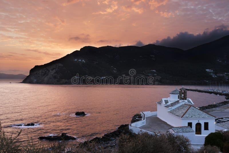 Zonsopgang Skopelos royalty-vrije stock afbeelding