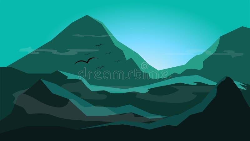 Zonsopgang tussen berg met mist; silhouet vlakke achtergrond des royalty-vrije illustratie