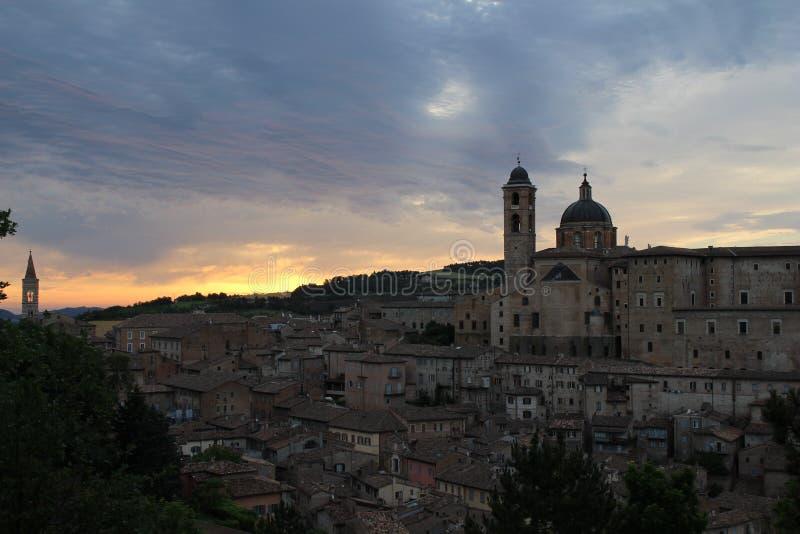 Zonsopgang in Urbino royalty-vrije stock foto's