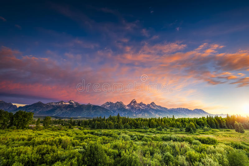 Zonsopgang in Wyoming Tetons royalty-vrije stock foto