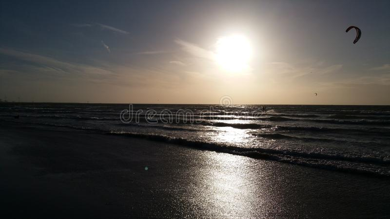 Zonsopgangstrand Holland stock foto's