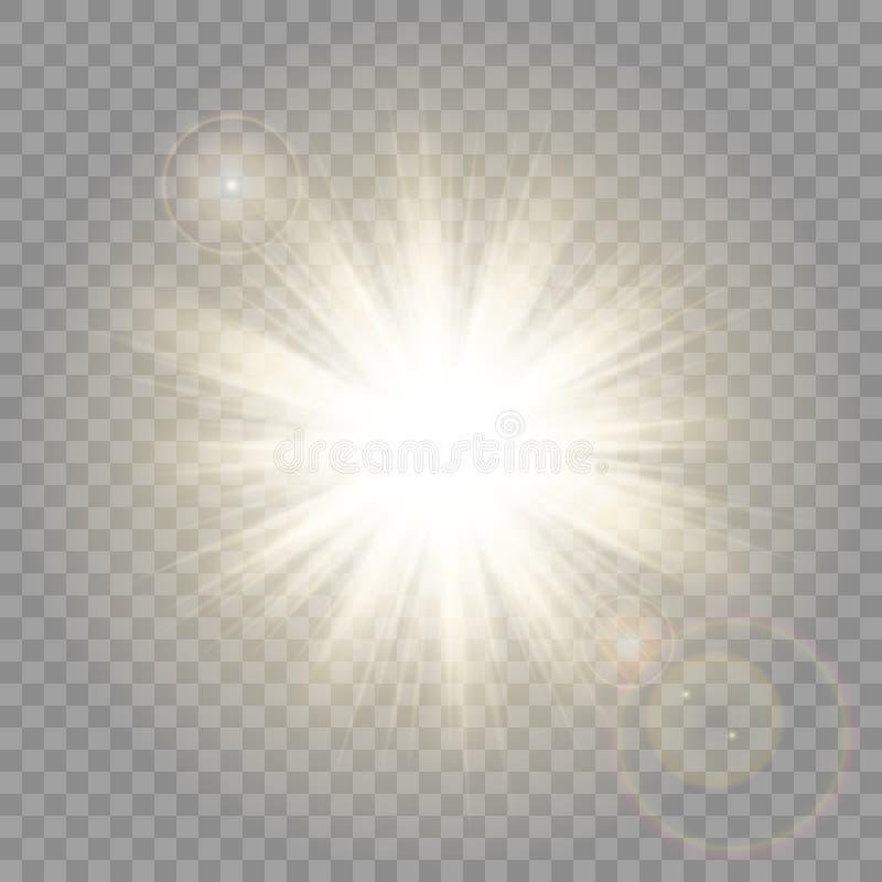 Zonstralen met Lensgloed op Transparante Vectorachtergrond stock illustratie