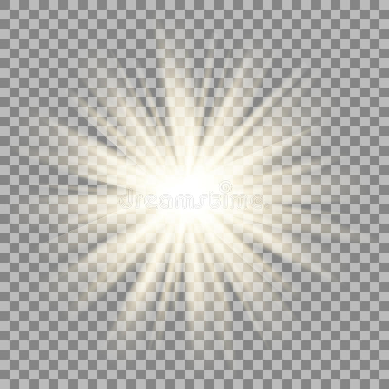 Zonstralen op transparante achtergrond Het effect van de stergloed stock illustratie