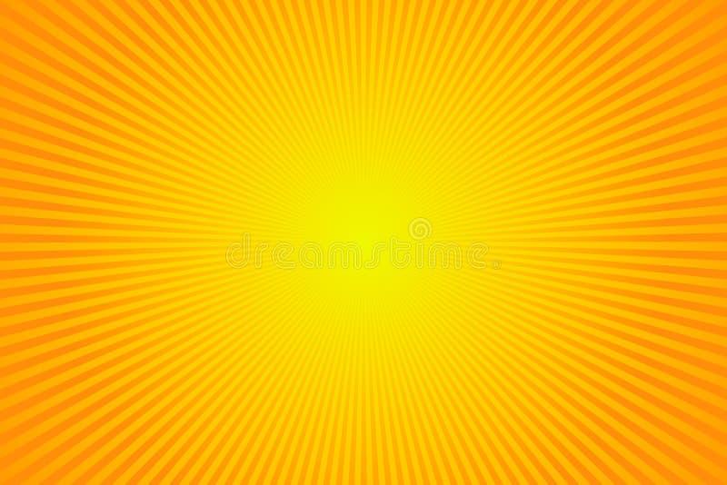 Zonstralen, zonnestraal op gele en oranje kleurenachtergrond Vector van de illustratiezomer ontwerp als achtergrond stock illustratie