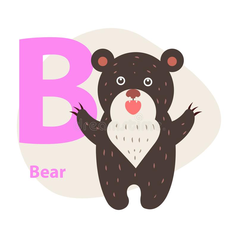 Zoo ABC Letter with Cute Bear Cartoon Vector. Children ABC with cute animal cartoon vector. English letter B with funny bear flat illustration isolated on white vector illustration