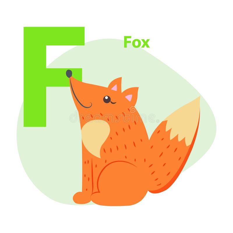 Zoo ABC Letter with Cute Fox Cartoon Vector. Children ABC with cute animal cartoon vector. English letter F with funny fox flat illustration isolated on white royalty free illustration