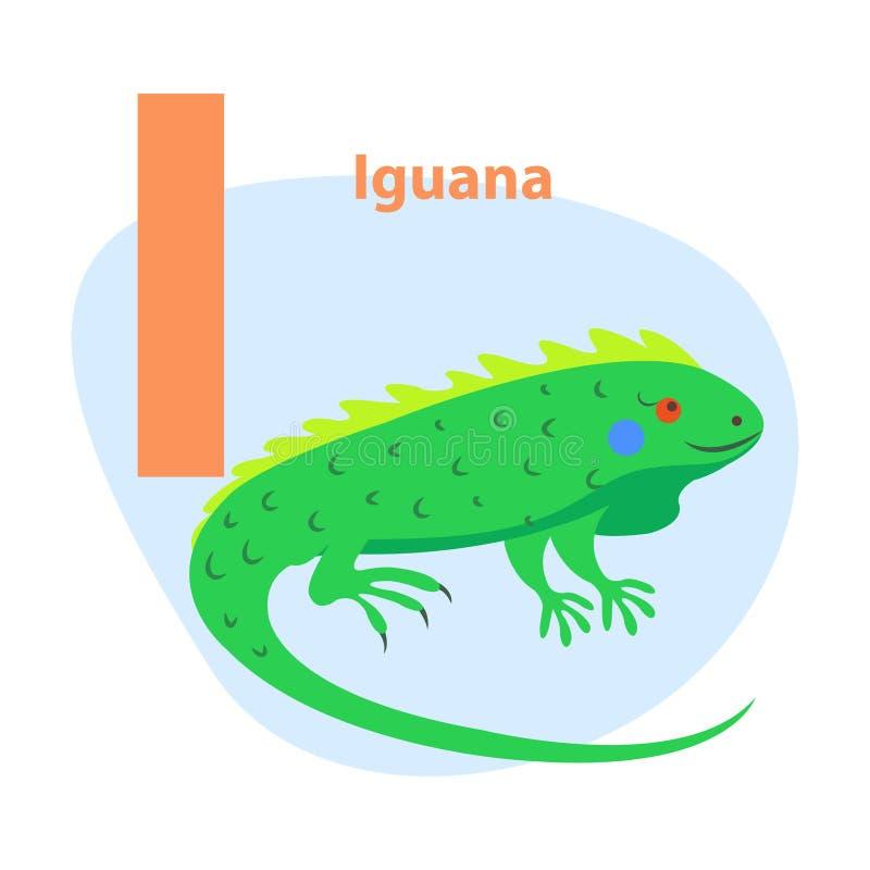 Zoo ABC Letter with Cute Iguana Cartoon Vector. Children ABC with cute animal cartoon vector. English letter I with funny iguana flat illustration isolated on royalty free illustration