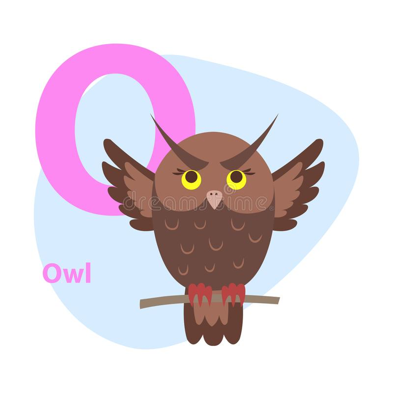 Zoo ABC Letter with Cute Owl Cartoon Vector. Children ABC with cute animal cartoon vector. English letter O with funny owl flat illustration isolated on white royalty free illustration