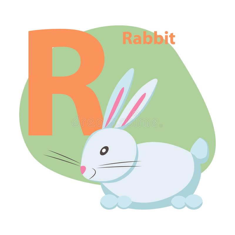 Zoo ABC Letter with Cute Rabbit Cartoon Vector. Children ABC with cute animal cartoon vector. English letter R with funny rabbit flat illustration isolated on royalty free illustration