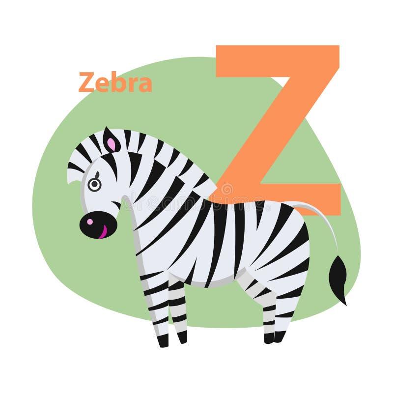 Zoo ABC Letter with Cute Zebra Cartoon Vector vector illustration