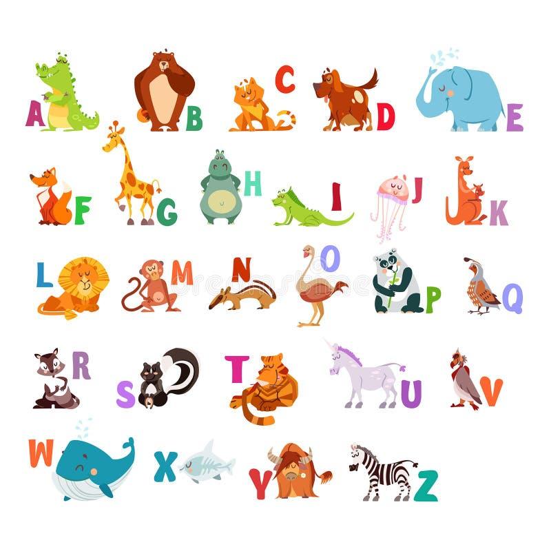 Zoo abc z kawaii zwierzętami ilustracji