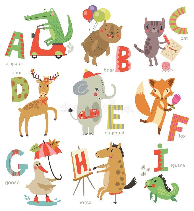 Zoo abecadło dla dzieci Set listy i ilustracje Śliczni zwierzęta ilustracji