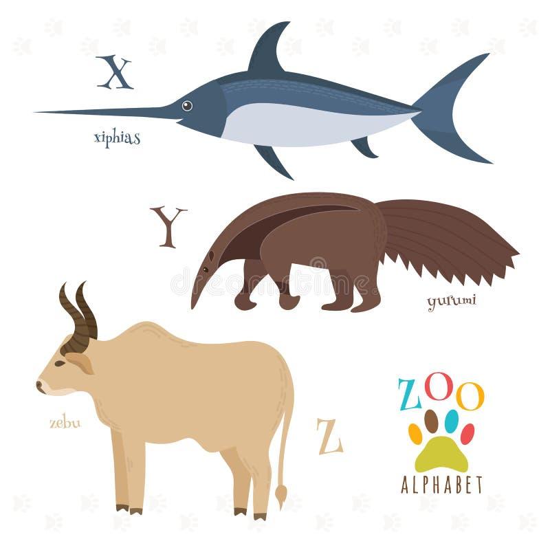 Zoo abecadło z śmiesznymi kreskówek zwierzętami X, y, z listy Xiphia ilustracji