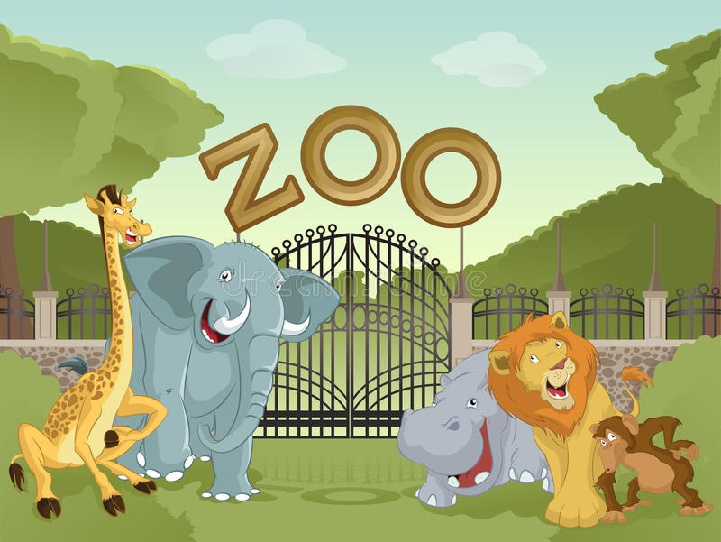 Zoo with african animals. Vector image of cartoon zoo with animals