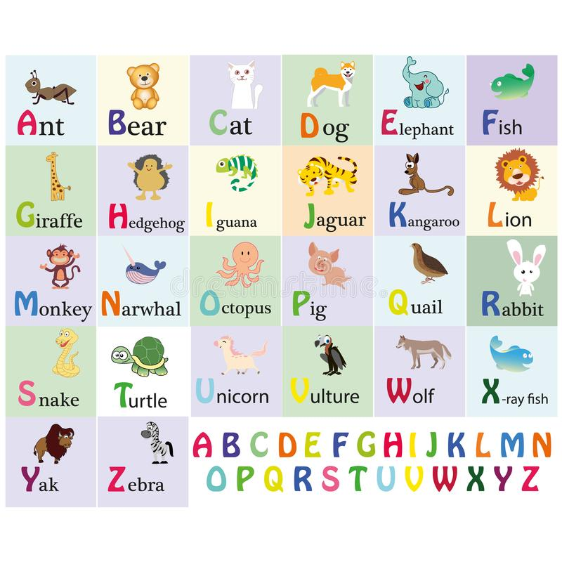 Zoo alphabet. Animal alphabet. Letters from A to Z. Cartoon cute animals isolated on white background. Different animals. Alligato. R, bear, cat, dog, elephant stock illustration
