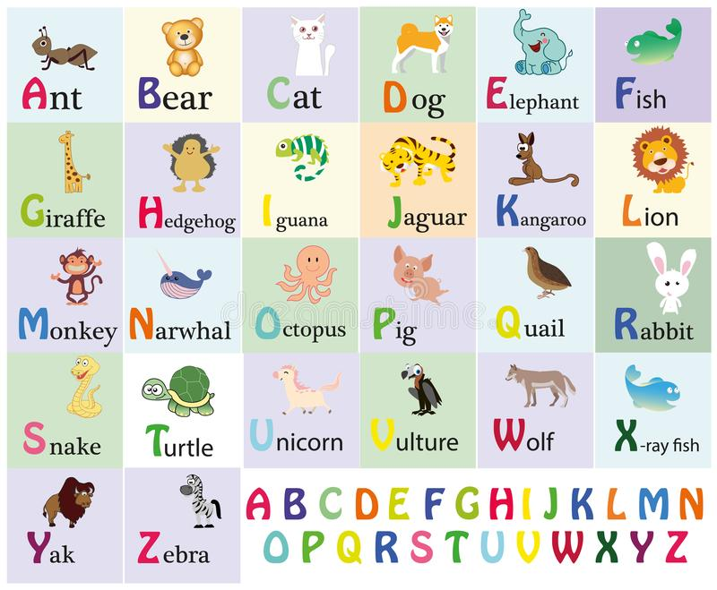 Zoo alphabet. Animal alphabet. Letters from A to Z. Cartoon cute animals isolated on white background. Different animals. Alligato. R, bear, cat, dog, elephant royalty free illustration