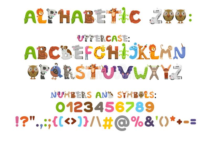 Zoo alphabet. Animal alphabet. Letters from A to Z. Cartoon cute animals isolated on white background. Different animals. Vector color font with uppercases stock illustration