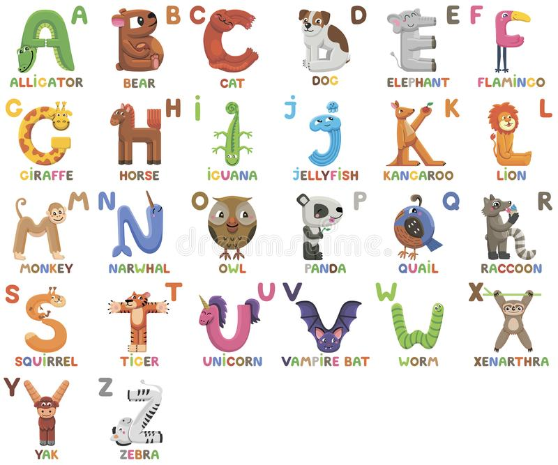 Zoo alphabet. Animal alphabet. Letters from A to Z. Cartoon cute animals isolated on white background. Different animals royalty free illustration