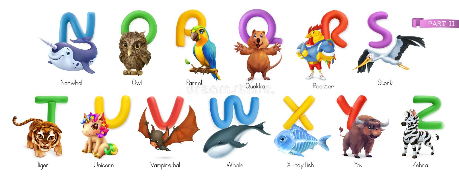 Zoo alphabet. Funny animals, 3d vector icons set. Letters N - Z Part 2 vector illustration