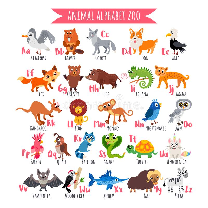 Zoo alphabet. A-Z Animal alphabet. Vector poster. Zoo alphabet. A-Z Animal alphabet. Funny cartoon animals isolated on white background. Kids education vector vector illustration