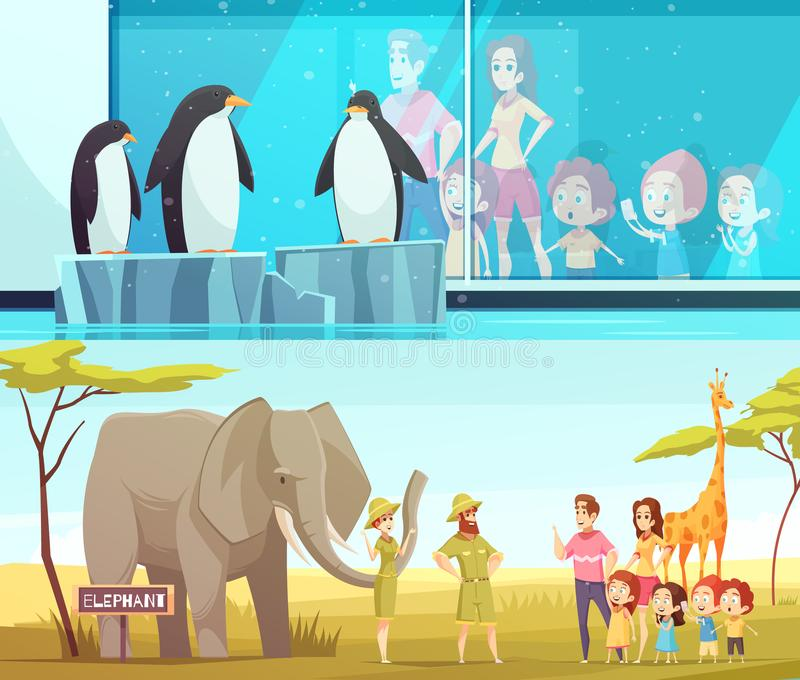 Zoo Animals 2 Cartoon Banners. Zoo animals 2 horizontal cartoon banners with elephant and giraffe in safari environment and penguins vector illustration royalty free illustration