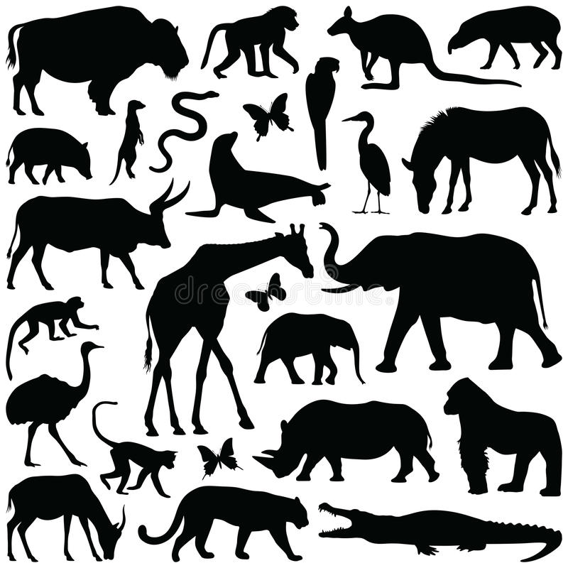 Zoo animals. Collection - silhouette illustration royalty free illustration