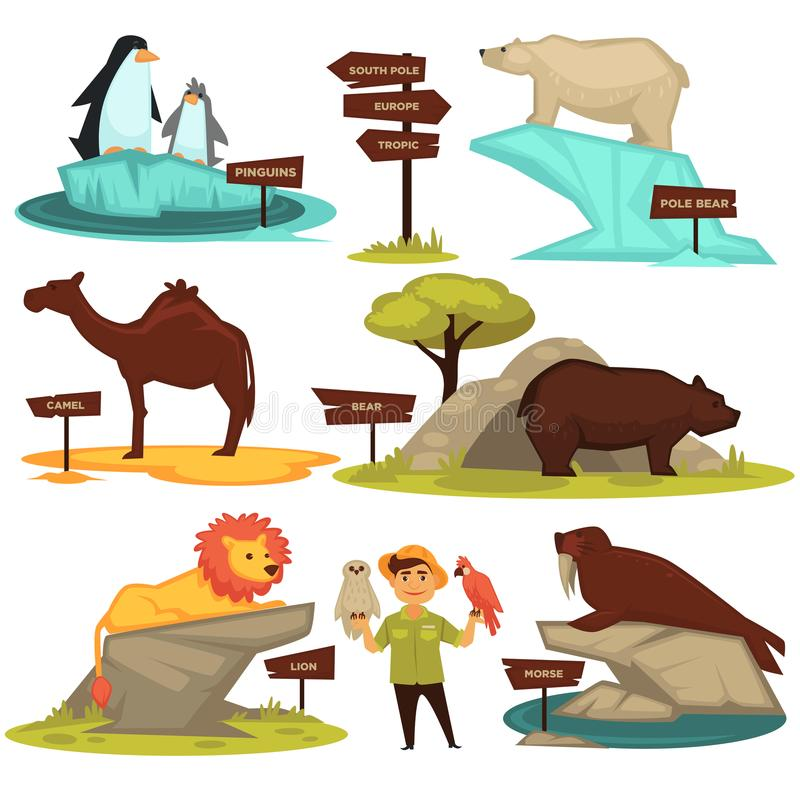 Zoo animals names and map direction wooden signs vector cartoon infographic guide icons set royalty free illustration