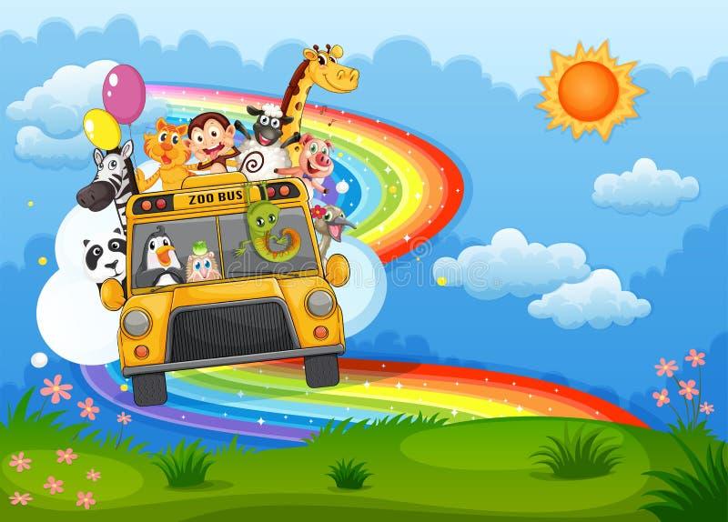 Zoo autobus przy szczytem z tęczą w niebie ilustracja wektor