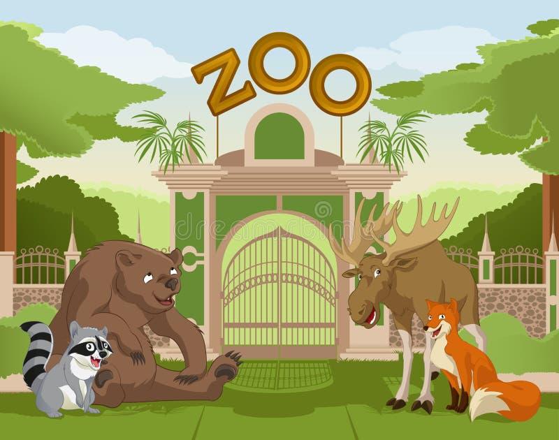 Zoo brama z lasowymi zwierzętami 1 ilustracja wektor