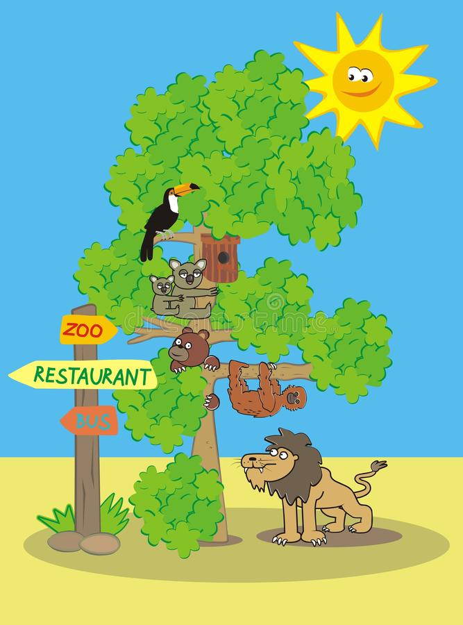 ZOO, daytime. Group of wildlife animals. Illustration for the children stock illustration