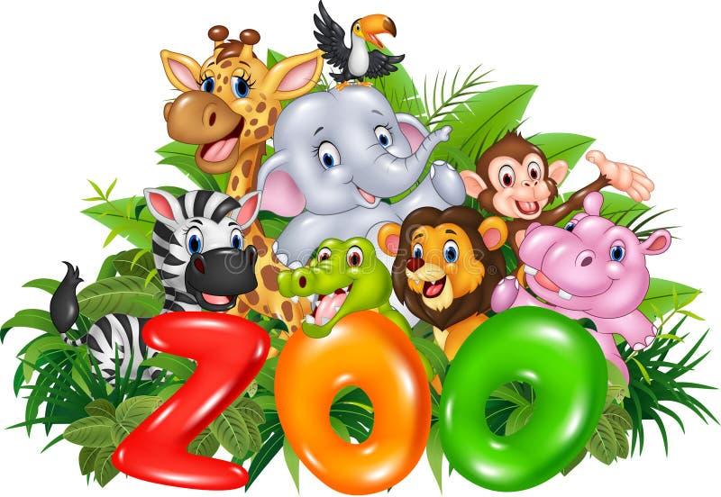 Zoo de Word avec l'animal sauvage de bande dessinée illustration de vecteur