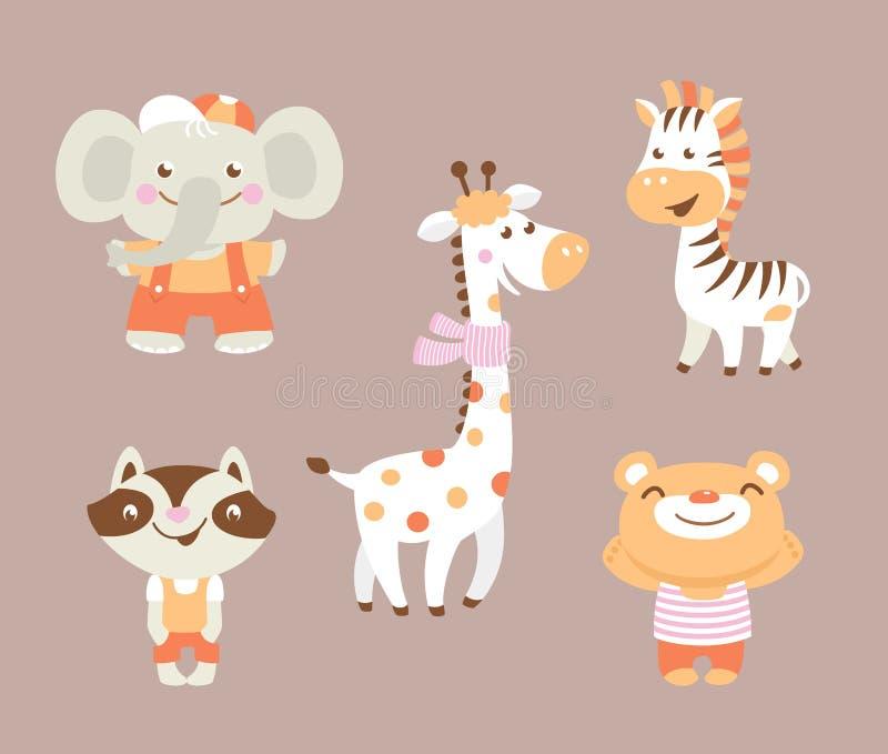 Zoo divertente del fumetto con la giraffa e l'elefante della zebra del procione dell'orso illustrazione vettoriale