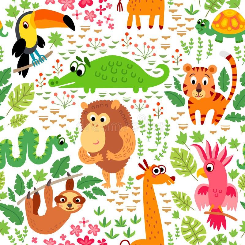 zoo Djungelmodell Sömlös tropisk vektorbakgrund stock illustrationer