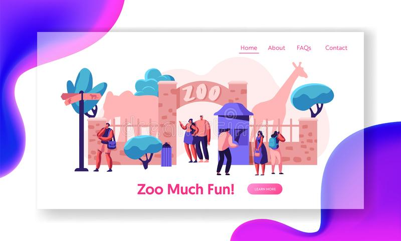 Zoo Entrance Gate with Giraffe Elephant Landing Page. Many People Come to Exotic African Animal Park Family Summer Weekend Outdoor royalty free illustration