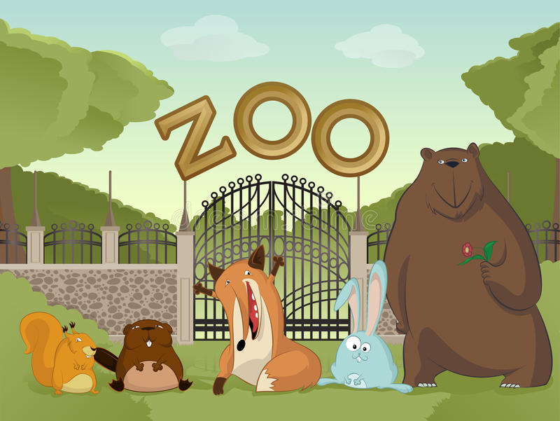 Zoo with forest animals stock illustration