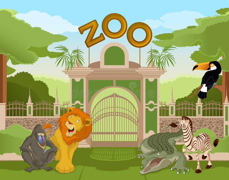 Zoo gate with african animals 2. Vector image of a colurful zoo gate with african animals royalty free illustration