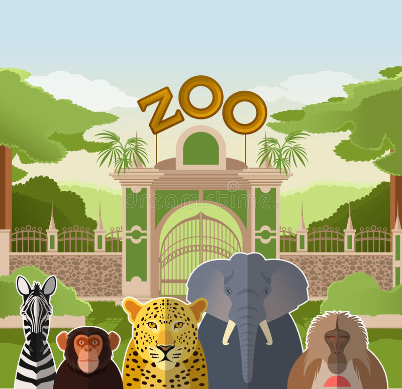 Zoo gate with african flat animals stock illustration
