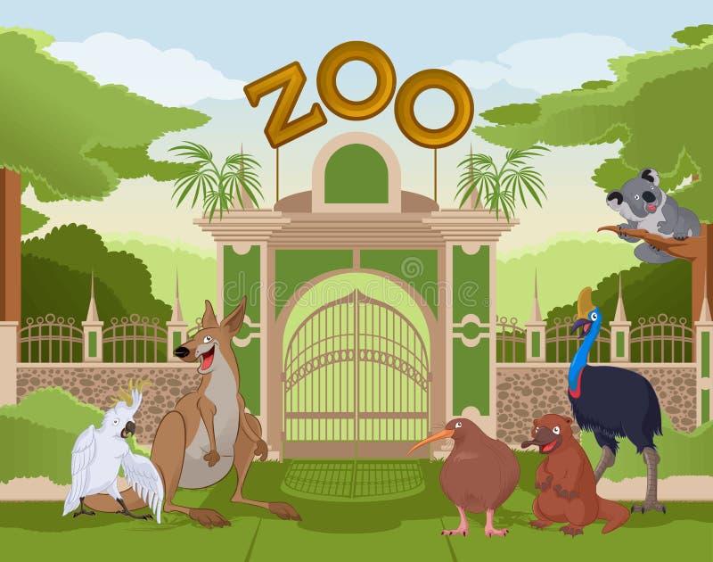 Zoo gate with australian animals vector illustration