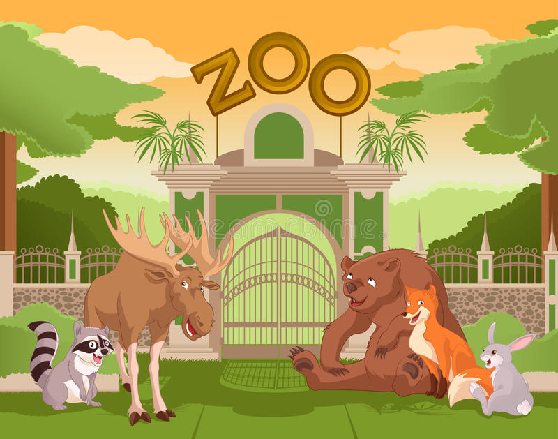 Zoo gate with forest animals 2 royalty free illustration