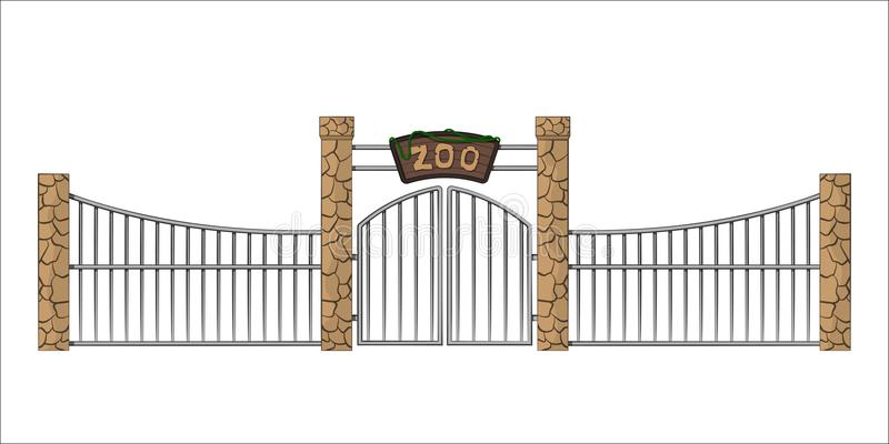 Zoo gate. Isolated object in cartoon style on white background. Gateway with lattice vector illustration