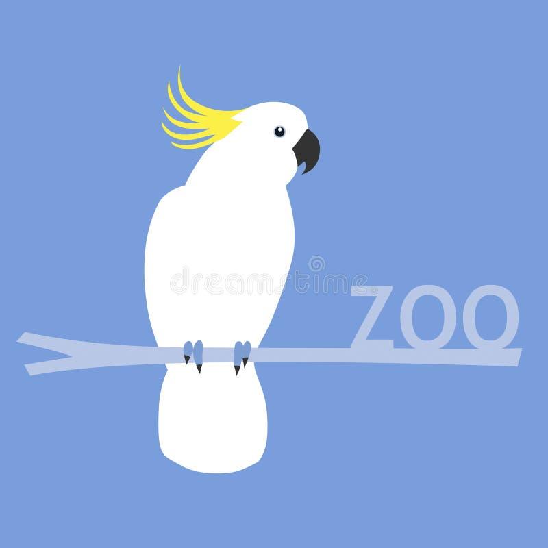 Zoo - guling-krönad kakadua stock illustrationer
