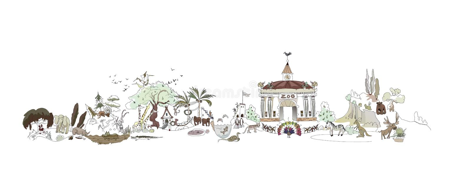 Zoo, illustration de parc de Safary, collection de ville illustration stock