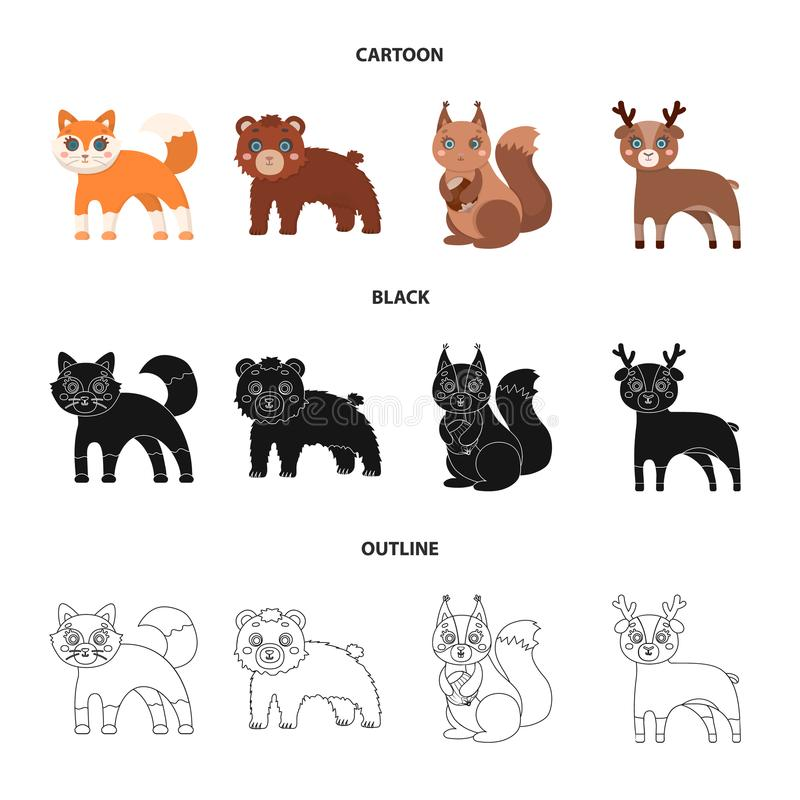 Zoo, natura, rezerwa i inna sieci ikona w kreskówce, czerń, konturu styl Artiodactyl, natura, ekologia, ikony w secie ilustracja wektor