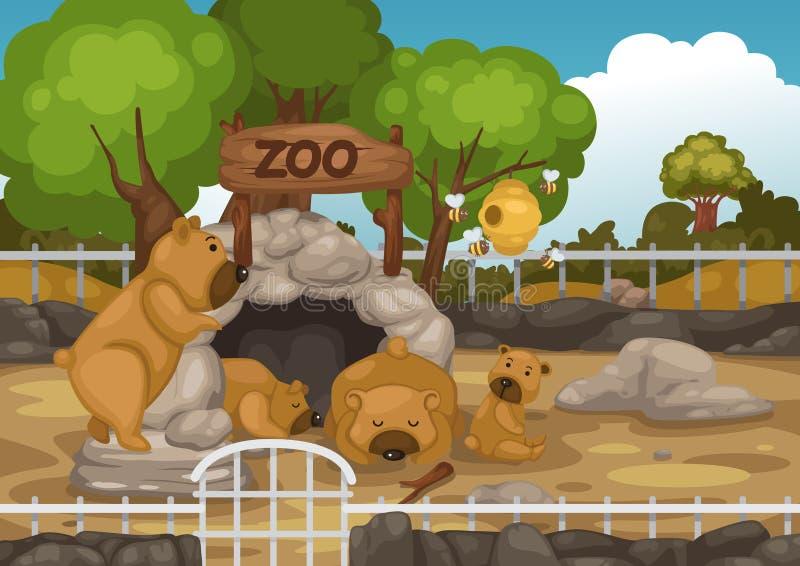 Zoo- och björnvektor stock illustrationer