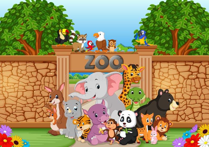 Zoo och djur i en härlig natur stock illustrationer