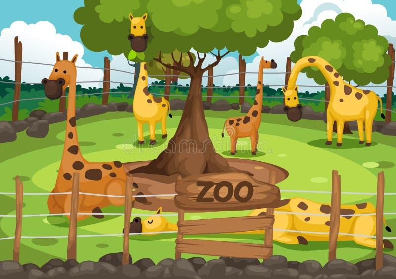 Zoo och giraff royaltyfri illustrationer