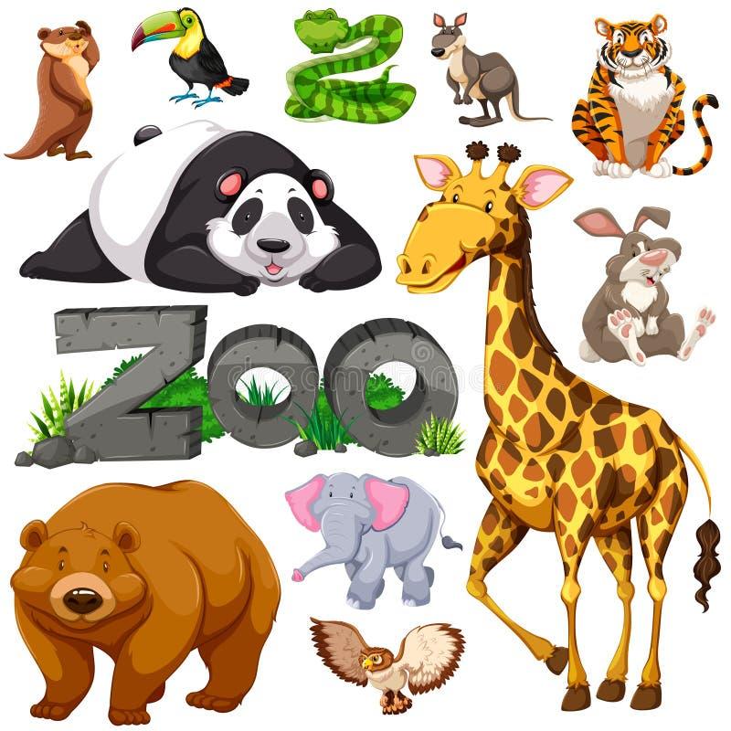 Zoo och olika typer av vilda djur royaltyfri illustrationer